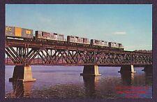 LMH Postcard  BOSTON MAINE Railroad  BM B&M GP9  HUDSON RIVER Pratt Truss Bridge