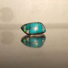 genuine turquoise and opal ring, metal is sterling silver, AF Sterling, size 6