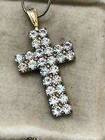 Cross Pendant Gold Tone Necklace Sparkly Rhinestone Crucifix Vintage Jewellery