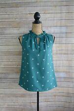 NWOT Merona: GREEN white print SLEEVELESS polyester blouse w/ TIE size XS