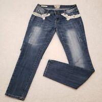 Hot Kiss Jeans. Women. Size 7. Embelished. Prewashed. Blue. Pre owner.