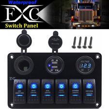 FXC 6 Gang LED Rocker Switch Panel 12V 24V Car Boat Marine Voltmeter USB Charger
