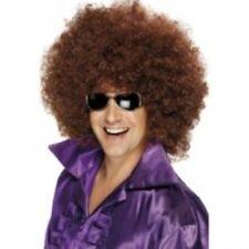 1970s 70s Pimp Daddy Brown Mega Huge Afro Wig Fancy Dress Mens Adult NEW