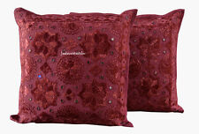 Set Of 2 Indian Handmade 16X16 mirror Cotton Hippie Cushion Cover Home Decor