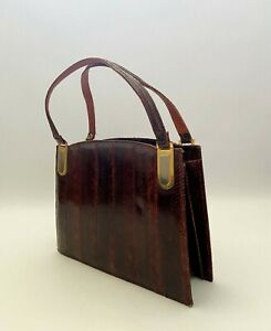 Vintage real lizard leather classic 1950s handbag,classic Kelly, Made in England