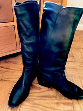 Vintage K-Shoes Black Leather Mid Calf Pull On Boots Size 5c - Small Fitting 🍂