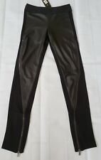 NWT $138 BCBG Vegan Cruelty Free Faux Leather Contrast Zipper Leggings XS