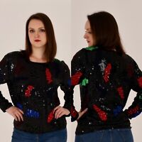 80s Vintage Black Sequin Colorful Abstract Sweater. Size M