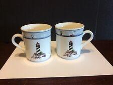 Totally Today Coastal Lighthouse Coffee Mug/Cup Set Of 2 Nautical Theme