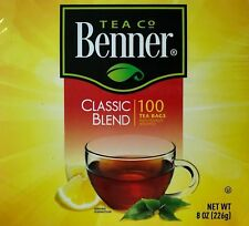 Tea Benner Classic Blend Black -100 Bags individually wrapped Kosher antioxidant