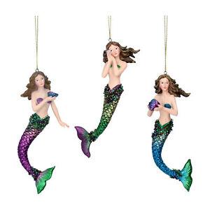 3 x Gisela Graham Atlantis Mermaid Hanging Christmas Tree Decorations