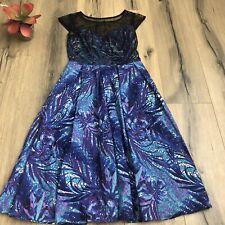 eShakti Women Size XS 2 Blue Purple Floral Print Swiss Dot Pockets Dress EUC