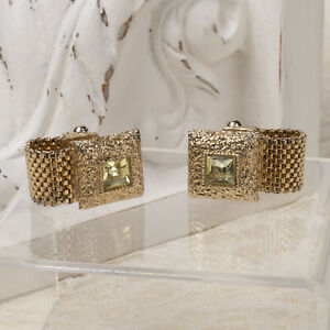 Vintage Lemon Rhinestone Square Gold Tone Wrap Around Mesh Cuff Links