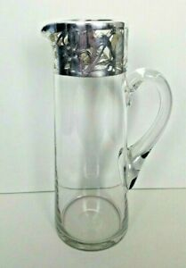 Tall Art Nouveau Cocktail Pitcher Sterling Silver Overlay Barware