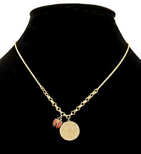 """Authentic Swarovski Lisabel Coin Ladybug 17"""" Necklace Gold-Plated 5498808 NEW"""