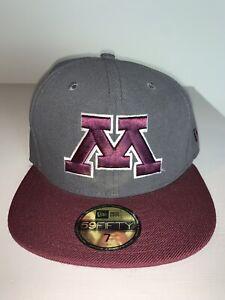 Men's New Era Minnesota Golden Gophers Gray & Maroon Fitted Cap Hat 7 NWT
