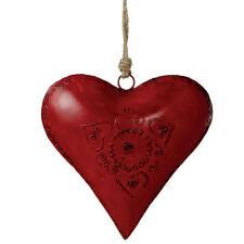 """Large Red Heart Metal Christmas Decoration/Ornament - 8"""" Tall, by Midwest CBK"""