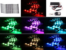 10PC RGB LED Car Motorcycle Chopper Frame Glow Lights Flexible Neon Strips Kit