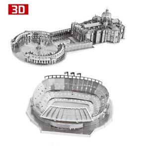 2pcs set 3D Metal Nano Puzzle St Peter's Basilica Camp Nou Stadium Build Jigsaw