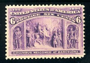 USAstamps Unused FVF US 1893 Columbian Expo Columbus Welcomed Scott 235 OG MNH