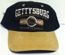 GETTYSBURG NATIONAL MILITARY BLACK CAP HAT TAN BRIM NEW
