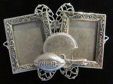 Football Wearable Pin Double Frames Helmet Silver Plate & Matte Silver Ox