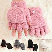 Women Girls Cute Corals Fleece Hand Wrist Warmer Soft Winter Fingerless Gloves