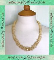 MOP Nacre Shell Chunky Carved Bead Necklace Antique Victorian / Art Deco Vintage