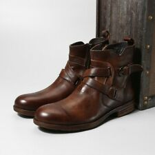 Mens Occident Handmade Round Toe Block Buckle Side Zip Retro Punk Ankle Boots @