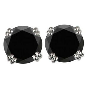 Natural Black Diamond 6.50Ct Round Cut Solitaire Studs In 925 Sterling Silver