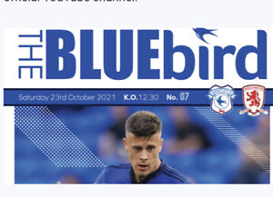 CARDIFF CITY V MIDDLESBOROUGH  FC OFFICIAL MATCH PROGRAMME 23/10/21