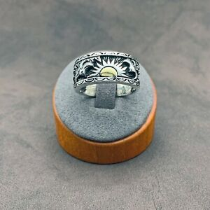 925 Sterling Silver Rising Sun with Eagles Men's Ring. Solid Wide Band. Size 13