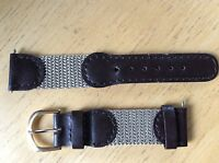 NEW SPEIDEL WATCH BAND BRACELET- Leather & Nylon 19mm 391R Dk Brown & Grey SPORT