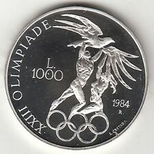 SAN MARINO 1984 LIRE 1000 ARGENTO FONDO SPECCHIO OLIMPIADI LOS ANGELES AG  PROOF