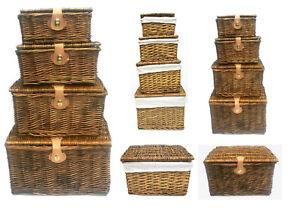 Strong Pine Wicker Picnic Gift Storage Xmas Christmas Empty Hamper Basket