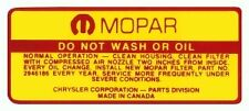 Mopar 1970-1971 Dodge & Plymouth MD893 Air Cleaner Service Instruction Decal