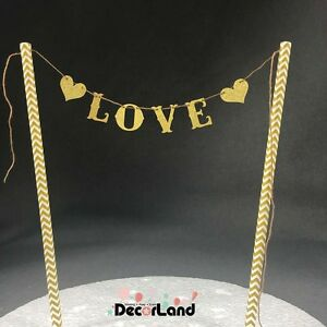 """""""LOVE"""" Glitter Gold Cake Topper Wedding Engagement Anniversary Party Decoration"""
