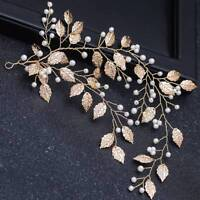 Romantic Hair Pearl Leaf Gold Wedding Hairband Bridal Fashion Prom Hairpin Clip