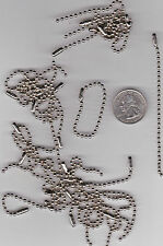 LOT OF 30 SILVER TONE METAL 3 7/8 INCH  BALL CHAIN KEY CHAIN- C28 -  U.S. SELLER
