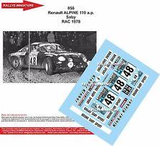 DECALS 1/32 REF 856 ALPINE RENAULT A110 BRUNO SABY RAC RALLY 1978 RALLYE WRC