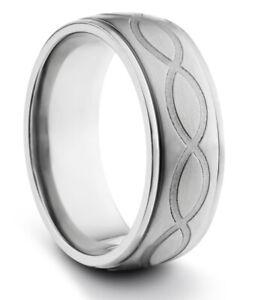 TungstenMasters 8MM/6MM TITANIUM Mens/Womens Infinity Loop Wedding Band Ring