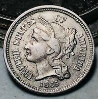 1865 Three Cent Nickel Piece Coin 3C High Grade Choice Civil War US Coin CC5711
