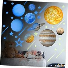 Blue Glow in The Dark Solar System Wall Décor Blue Stars and Planets Wall