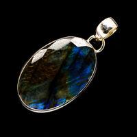 "Labradorite 925 Sterling Silver Pendant 1 1/2"" Ana Co Jewelry P720874F"