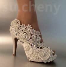 "Pearls 3"" 4"" heel satin white ivory lace open toe bridal wedding shoes size 5-1"