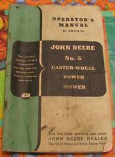 John Deere No. 5 Caster Wheel Power Mower Operator's Manual No.Om-H10-351