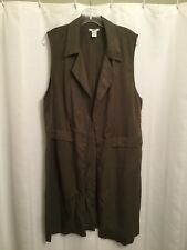 barIII Long Olive Vest New Size XL