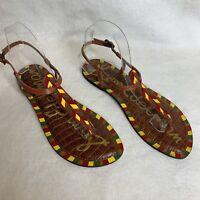 Sam Edelman Gigi Sandlas Size 9 Leather Brown Yellow Green NEW