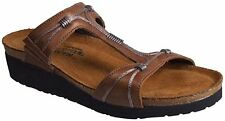 New! Woman's Brown Naot 'Dana' Leather Slide Sandals Size 5 EU36 9205