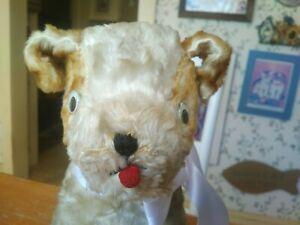 Antique Vintage artsilk Gund Puppy Dog Teddy Bear Friend googly eyes 10in GUC+